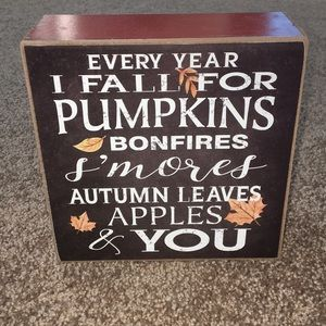 Fall Decor Sign. Every Year I Fall For Pumpkins..